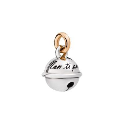 Dodo campanello in argento e oro rosa con incisione