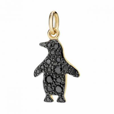Dodo pinguino in oro giallo con diamanti black