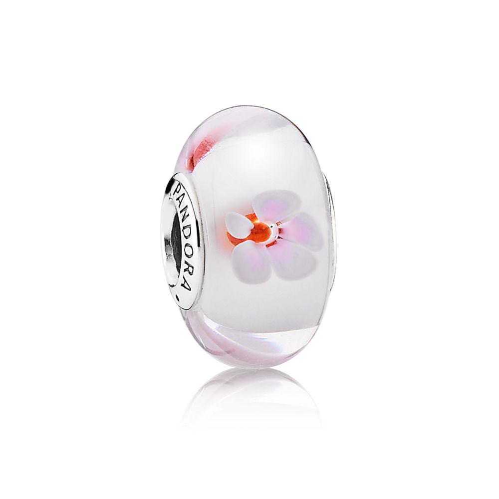 charm pandora con fiori rosa