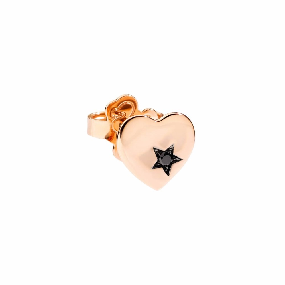 migliore a buon mercato a buon mercato autentico Dodo orecchino cuore in oro rosa con diamanti black