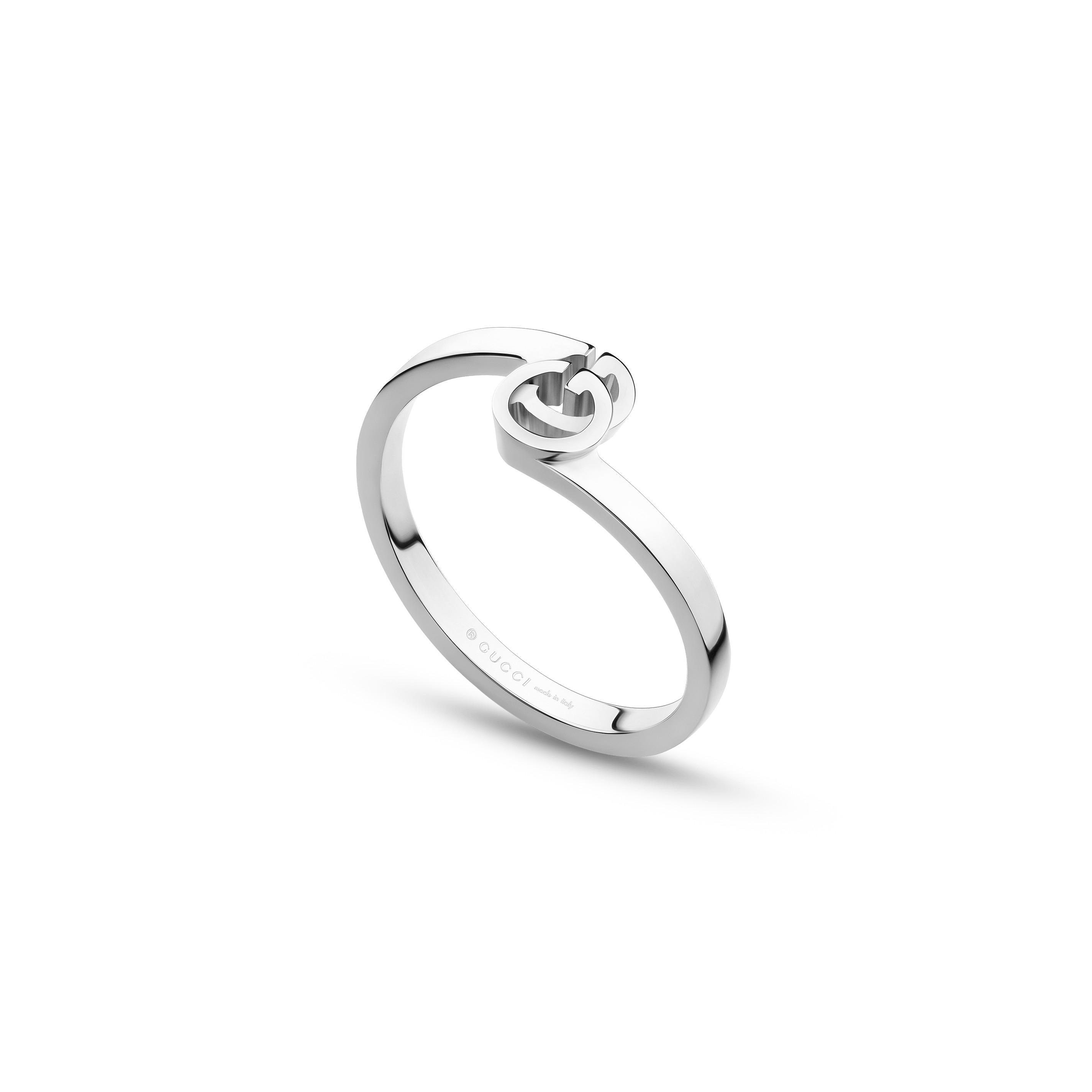 promo code 37f25 dae18 Gucci anello running GG in oro bianco