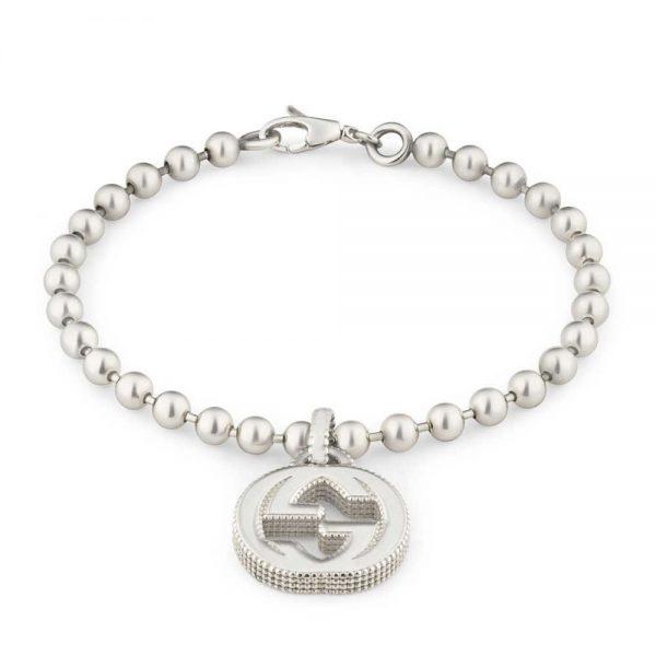 Gucci bracciale Interlocking con ciondolo GG in argento