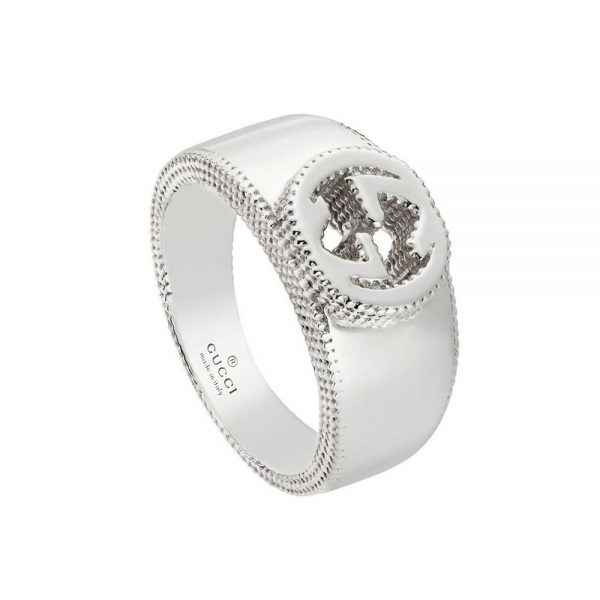 Gucci anello Interlocking GG in argento