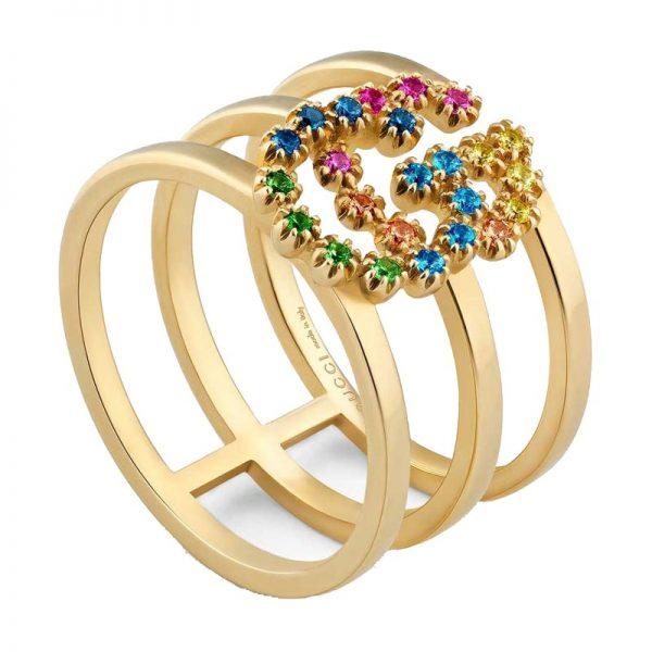 Gucci anello con doppia GG e pietre multicolor