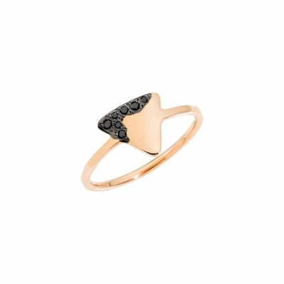 Dodo anello precious tag in oro rosa e diamanti black
