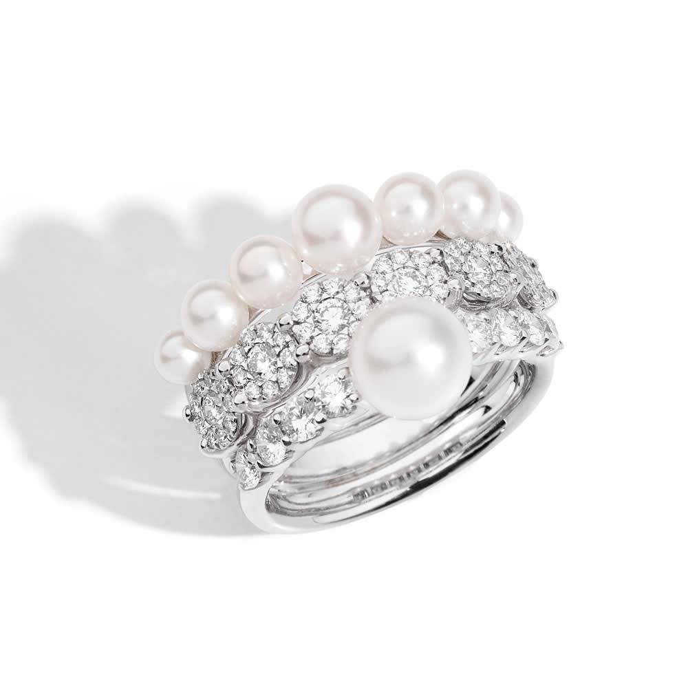 molto carino ac3ed 042f4 Recarlo anello riviera con perle e diamanti collezione Star