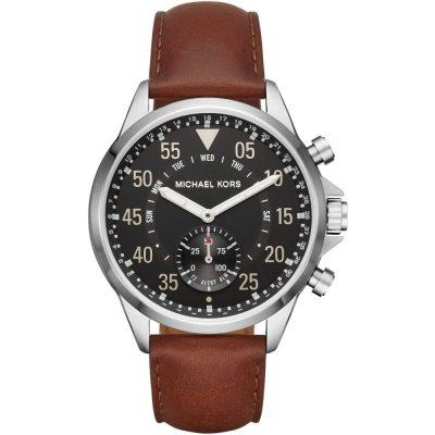 Michael Kors smartwatch ibrido Gage tonalità argento con cinturino in pelle