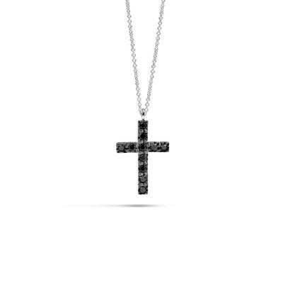 Recarlo – Girocollo croce in oro bianco e diamanti black P39CR882/045-45