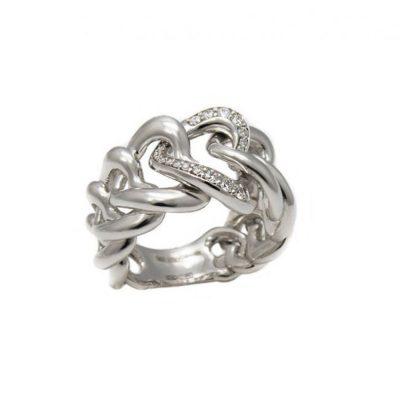 Recarlo – Anello fascia in oro bianco e diamanti R58FA366/S030-13