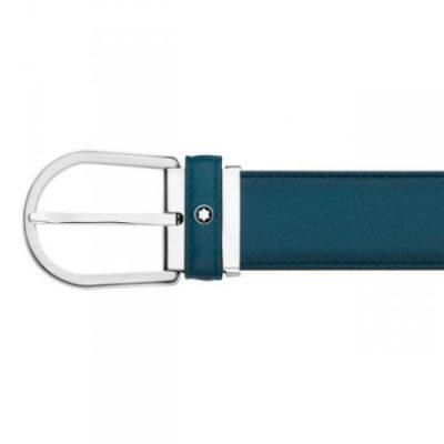 Montblanc – Cintura con fibbia a ferro di cavallo Ombre Classic Line Blue 118415