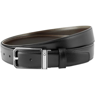 Montblanc – Cintura elegante nera/marrone reversibile cut-to-size 118434