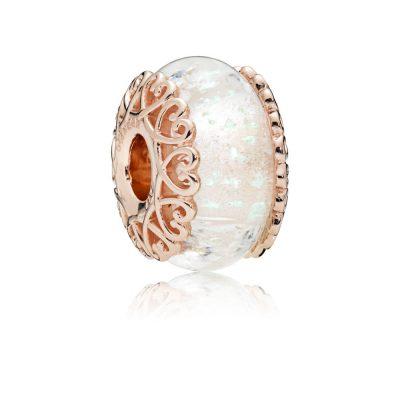 Pandora – Charm in vetro di murano bianco iridescente 787576