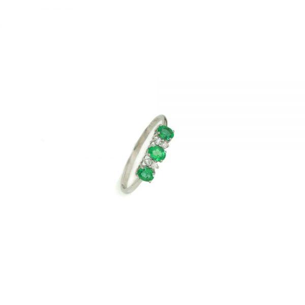 Cordaro – Anello Trilogy con smeraldi e diamanti RG11S