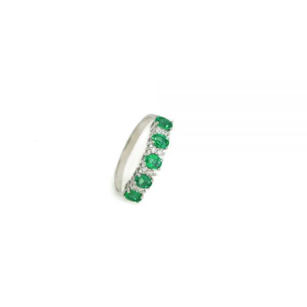 Cordaro – Anello Veretta con smeraldi e diamanti RG17S